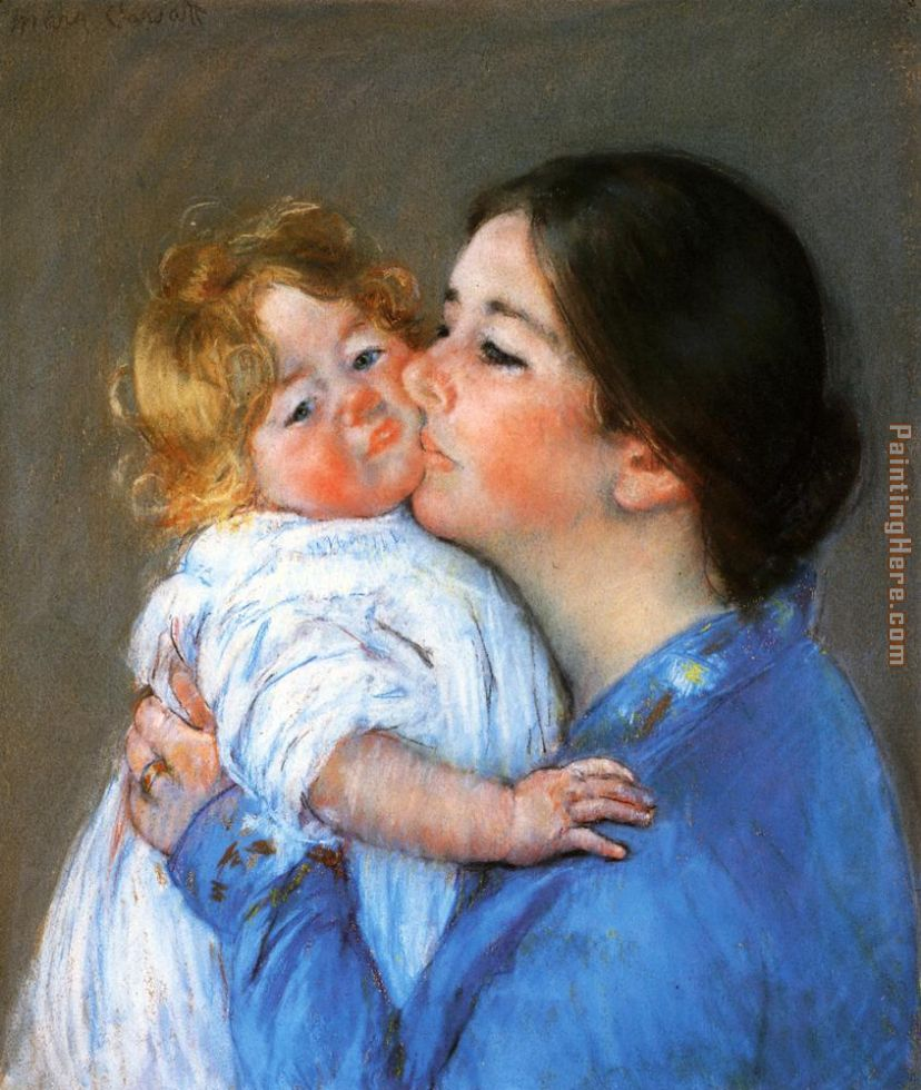 A Kiss For Baby Anne painting - Mary Cassatt A Kiss For Baby Anne art painting