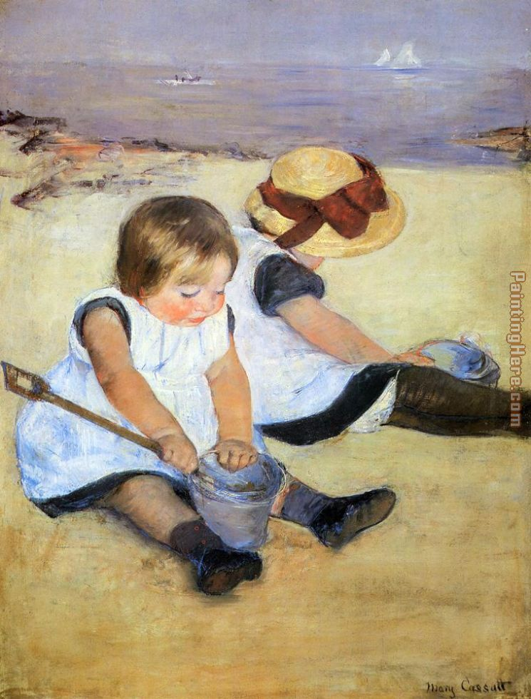 Children Playing On The Beach painting - Mary Cassatt Children Playing On The Beach art painting