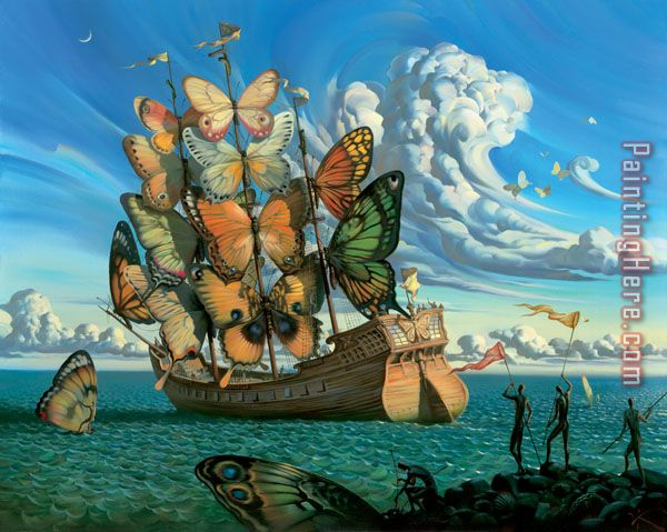 Vladimir Kush Departure Of The Winged Ship Painting